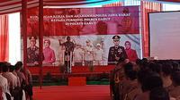Sambutan Kapolda Jabar Inspektur Jenderal Rudy Sufahriadi,d alam kunjungan kerjanya di Mapolres Garut, Jawa Barat (Liputan6.com/Jayadi Supriadin)