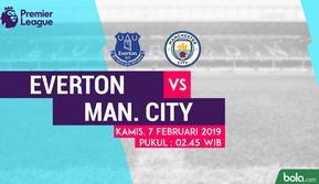 Jadwal Premier League 2018-2019 pekan ke-27, Everton vs Manchester City. (Bola.com/Dody Iryawan)