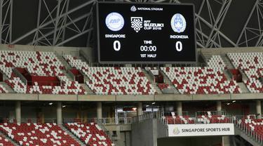 Suasana tampak dalam dari Stadion Nasional di Singapura, Kamis (8/11). Stadion ini akan menggelar laga Piala AFF 2018 antara Singapura melawan Timnas Indonesia. (Bola.com/M. Iqbal Ichsan)