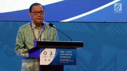 """Gubernur BI Agus Martowardojo memberi pidato saat pembukaan High - Level International Conference di Jakarta, Selasa (27/2). Konferensi internasional tingkat tinggi ini bertemakan """"Models in a Changing Global Landscape"""". (Liputan6.com/JohanTallo)"""