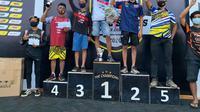 Pembalap Galang Fernando asal Kabupaten Musi Banyuasin Sumsel meraih empat podium di Indiel Grasstrack Series Championship 2020 (Dok. Humas Pemkab Musi Banyuasin / Nefri Inge)