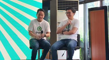 Co-CEO Gojek Indonesia Andre Soelistyo (kiri) dan Kevin Aluwi (kanan)