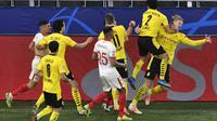 Dua Gol Haaland Loloskan Dortmund ke perempat final Liga Champions (AP)