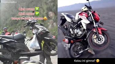 Viral Video Tukang Ojek Angkut Motor Ini Hanya di Gunung Bromo