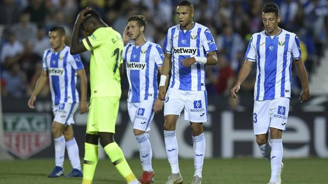 Leganes v Barcelona. Oscar Rodriguez merayakan golnya ke gawang Barcelona. ( AFP Oscar del Pozo) 18e26928ceffd