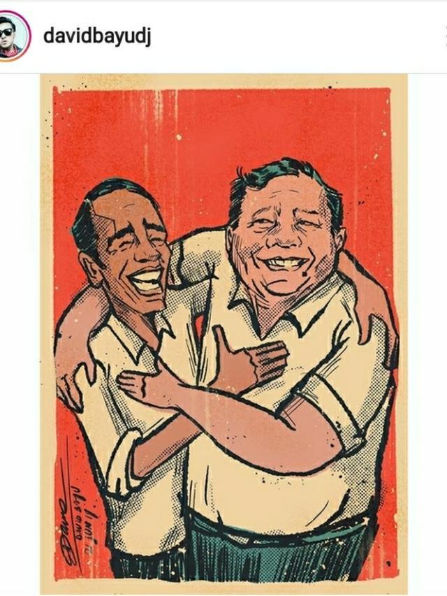 Cinta Damai David Naif Gambar Kartun Jokowi Dan Prabowo Berpelukan Showbiz Liputan6 Com