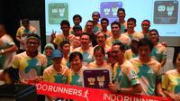 Sekitar 100 pelari memenuhi kantor Gubernur yang terletak di Jalan Medan Merdeka Selatan untuk kampanye Lari 5 Jakarta, Sabtu (13/2/2016).