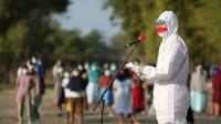 Ganjar menggelar upacara di Rumah Sakit Darurat Covid (RSDC) Donohudan, Selasa (17/8).