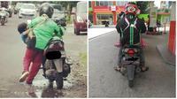 Potret Driver Ojek Online Bawa Anak Saat Bekerja Ini Bikin Haru (sumber:Instagram/@dramaojol.id)