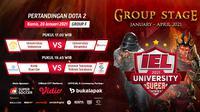 Streaming pertandingan IEL University Super Series 2021 fase Grup F, Kamis (28/1/2021) pukul 17.00 WIB dapat disaksikan melalui platform Vidio, laman Bola.com, dan Bola.net. (Dok. Vidio)