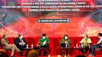Seminar internasional yang diadakan Badan Pembinaan Ideologi Pancasila (BPIP) dan PP GP Ansor secara daring dan luring di Jakarta, Rabu (28/10/2020). (Ist)