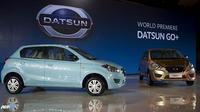 Tanpa diduga Datsun meluncurkan dua mobil sekaligus untuk pasar Indonesia, yakni mobil perkotaan Datsun Go dan mobil multifungsi Datsun Go+. (AFP/Bay Ismoyo/wwn)