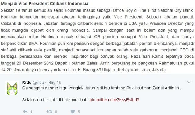 Sepenggal kisah bapak Houtman Zainal yang di akun twitter Ridu | Photo: Copyright Twitter.com/Ridu