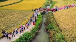 Foto udara menunjukkan warga berkeliling untuk memperingati panen raya di Desa Dangzao, Panshi, Kota Tongren, Provinsi Guizhou, China, 20 September 2020. Berbagai aktivitas digelar di seluruh negeri untuk menyambut festival panen petani China ketiga yang jatuh pada 22 September. (Xinhua/Wu Weidong)