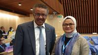 Kepala BPOM Penny K Lukito bersama Dirjen WHO, Thedros Adhanom dalam forum Member States Mechanism on Substandard and Falsified Medical Products (MSM-SFMP) ke-8 di Markas Besar WHO, Jenewa, Swiss pada Kamis (24/10/2019). (Dok Humas BPOM)