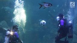 Penyelam melakukan atraksi menimang bola di dalam aquarium Sea World, Jakarta, Sabtu (16/6). Atraksi tersebut digelar dalam rangka menyemarakkan ajang Piala Dunia 2018 yang berlangsung di Rusia. (Liputan6.com/Immanuel Antonius)