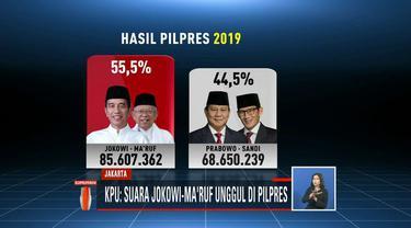 KPU tetapkan rekapitulasi penghitungan dan perolehan suara nasional untuk Pilpres 2019 pada Selasa dini hari. Hasilnya, Jokowi-Ma'ruf memperoleh 55,50 persen sedangkan Prabowo-Sandiaga meraih 44,50 persen.
