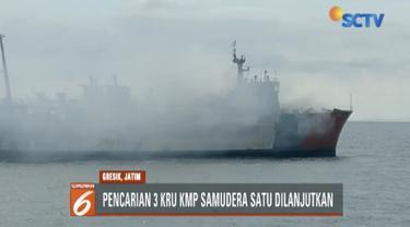 Usai pendinginan dan pembasahan, tim berencana memasuki bangkai kapal untuk mencari tiga orang yang hilang dalam kebakaran KMP Gerbang Samudra I itu.