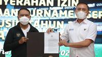 Menpora Zainudin Amali (kiri) dan Ketua PSSI Mochamad Iriawan. (Kemenpora).