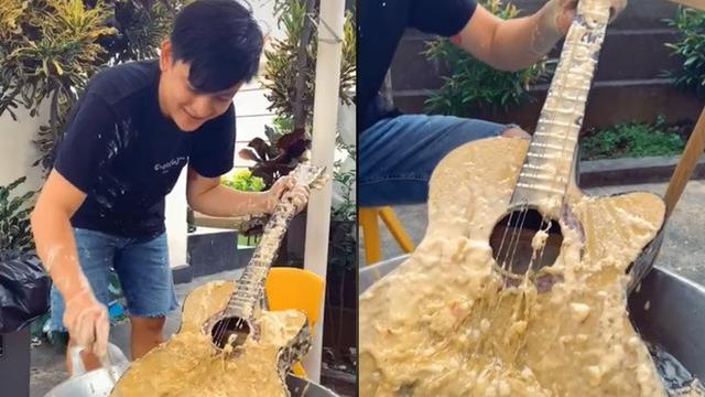 Viral Aksi Youtuber Bikin Gitar Goreng Geprek, Tuai Komentar Netizen