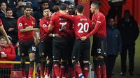 Manchester United menang 4-1 atas Fulham pada laga pekan ke-16 Premier League, di Old Trafford, Sabtu (8/12/2018). (AFP/Paul Ellis)