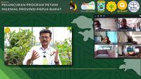 Staf Khusus Presiden Billy Mambrasar bersama Menteri Pertanian RI Syahrul Yasin Limpo meluncurkan Program Gerakan Petani Milenial di Manokwari, Papua Barat, yang digelar secara virtual, Kamis (20/05/2021). (Ist)