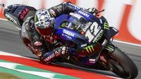 Aksi Maverick Vinales pada sesi kualifikasi MotoGP Belanda. (Vincent Jannink / ANP / AFP)