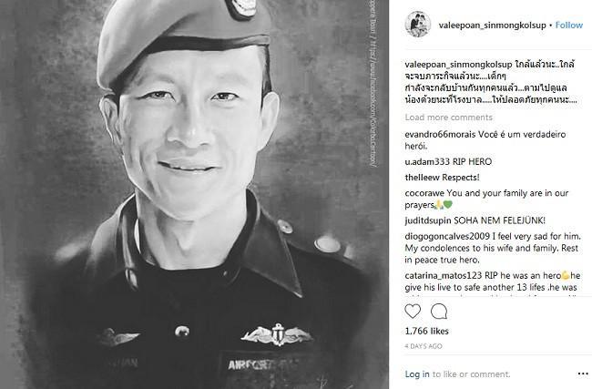 Saman Kunam meninggal dalam misi penyelamatan di gua Thailand karena kehabisan oksigen. (Instagram Valeepoan Kunan)