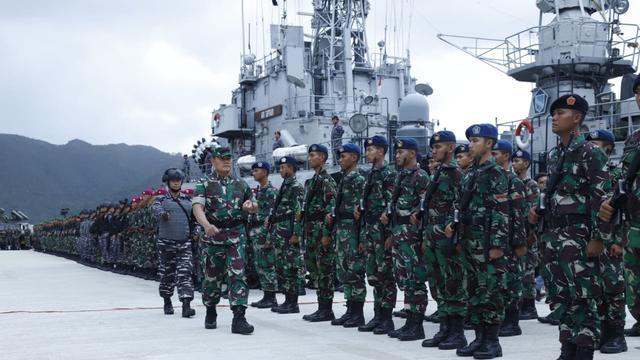 Gagah dan sangarnya pasukan TNI gelar apel siap amankan Laut Natuna dari kapal China.