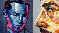 Seniman asal inggris ini membuat sketsa wajah meggunakan jarum dan benang dengan banyak warna. (Sumber foto: @pajnsy/Instagram)