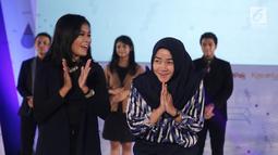 Ekspresi salah satu peserta audisi news presenter competition EGTC 2018 di Universitas Negeri Semarang (UNNES), Semarang, Kamis (19/). Para finalis akan diseleksi lagi dari 5 kota untuk mencari juara 1 dengan hadiah 20 juta. (Liputan6.com/Herman Zakharia)