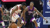 Aksi James Harden saat Rockets melawan Timberwolves di ajang NBA (AP)