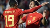 Rodrigo (kiri) merayakan golnya ke gawang Kepulauan Faroe (Miguel Ropa/AFP)
