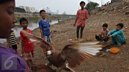 Sejumlah anak bermain burung merpati di bantaran Kanal Banjir Barat (KBB), Tanah Abang, Jakarta, Jumat (9/10). Terbatasnya ruang publik menyebabkan anak-anak tersebut terpaksa bermain di bantaran kanal. (Liputan6.com/Immanuel Antonius)