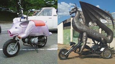 7 Potret Modifikasi Bentuk Sepeda Motor, Dari Babi Hingga Naga