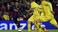 Lionel Messi mencetak gol keduanya. Foto: Lluis Gene / AFP / Getty Images