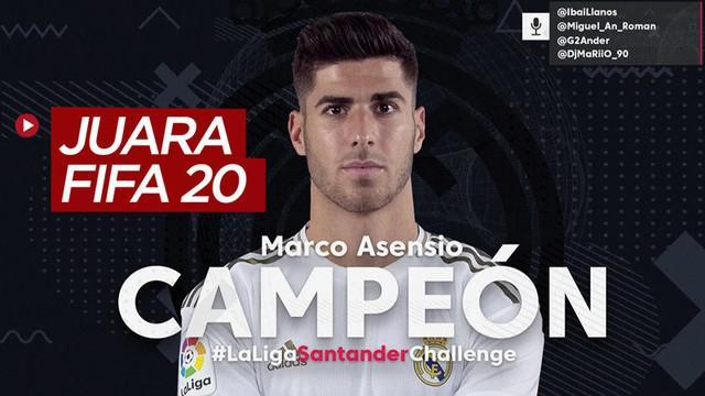 Berita video Marco Asensio juara di turnamen gim FIFA 2020 menggunakan tim Real Madrid. Turnamen tersebut berhasil mengumpulkan 2,5 miliar rupiah untuk kampanye melawan COVID-19.