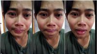 Titin TKW asal Indramayu Jawa Barat menangis terdampar di Irak dan minta dipulangkan. Foto (Liputan6.com / Panji Prayitno)