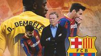 Barcelona - Ilustrasi Ronald Koeman dan bintang-bintang Barcelona manyun (Bola.com/Adreanus Titus)