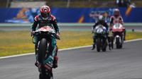 Pembalap Petronas Yamaha, Fabio Quartararo, tak menyangka bisa meraih pole position pada balapan MotoGP Jerez 2019. (AFP/Gabriel Bouys)
