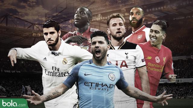 Liga Premier Inggris akan diwarnai adu tajam antara striker-striker klub yang akan menjalani musim 2017/2018.