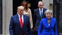Presiden AS, Donald Trump dan PM Inggris, Theresa May di London (4/6/2019) (Ben Stansall / AFP PHOTO)