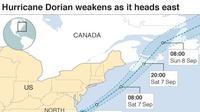 Pergerakan Badai Dorian. (NOAA)