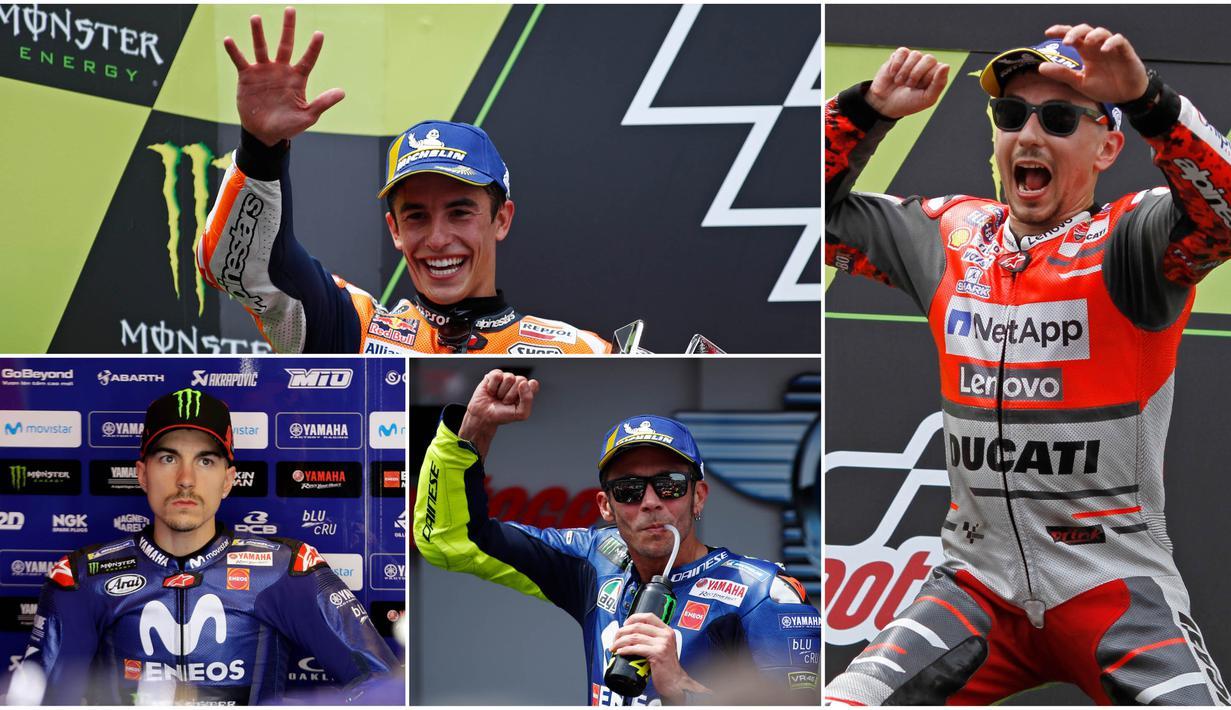 Berikut ini klasemen sementara MotoGP 2018 hingga GP Catalunya, Spanyol. Valentino Rossi terus bayangi Marc Marquez. (Kolase foto-foto dari AP-AFP)