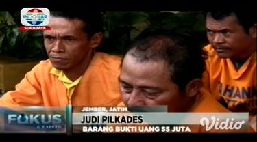 Sepuluh pelaku judi taruhan proses Pemilihan Kepala Desa, Pilkades, dibekuk Tim Satgas Anti Judi Polres Jember, Jawa Timur.
