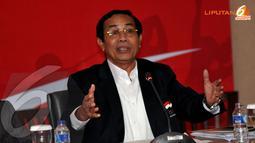 Asrizal Tanjung (Chief de Mission Sea Games Myanmar) menerangkan di Sea Games Myanmar mendatang Indonesia akan ikut di 452 nomor dari 460 yang dilombakan (Liputan6.com/Helmi Fithriansyah)