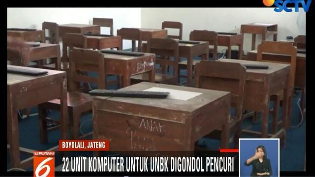 Perlengkapan untuk UNBK para siswa kelas 9 itu digondol pencuri pada Sabtu dini hari lalu.