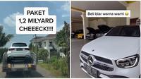 Pria ini lupa kalau pesan mobil Mercedes Benz jenis SUV berwarna putih. (Sumber: TikTok/@setyanug)