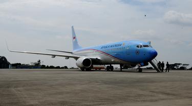 Penyambutan Kedatangan Pesawat Kepresidenan BBJ-2 di Baseops Lanud Halim_20140410