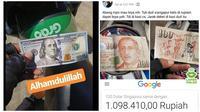 Driver ojol dibayar mata uang asing (Sumber: Instagram/dramaojol.id)